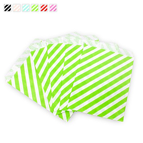 Craft Clouds - Diagonal Candy Stripe Candy Treat Craft Bag - 25 Pack (Apple Green)