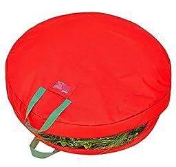 Simplify 30 Inch Wreath Storage Bag, Heavy Duty 600 Denier Polyester, Holiday Red