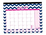 "2014 Desk Calendar January to December 16"" x 21"" bloom daily planner Desk Calendar Desk Pad - Pink with Blue Chevron"