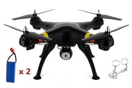 Ilov Syma X8W WiFi en temps réel vidéo 2.4 G 4ch 6 axes Venture avec 2MP Camera grand RC Quadcopter FPV - Version Noire (Drone + Extra 2 Batteries)