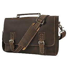 Smriti Retro Crazy Horse Real Leather 14-inch Laptop Messenger Bag Satchel Briefcase - Brown