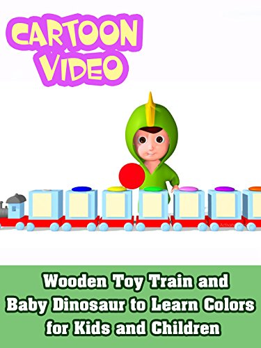 Wooden Toy Train and Baby Dinosaur to Learn Colors for Kids and Children