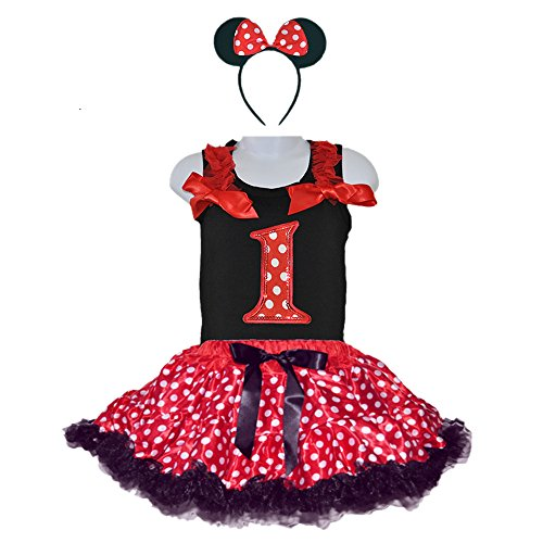 Red/White Polka Dots Costumes for Birthday Party-Tutu w/Tank Top & Headband