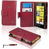 Etui Nokia Lumia 520 - SAVFY® - Housse de Protection en PU Cuir Portefeuille + FILM D'ECRAN + STYLET OFFERTS! Lot 3en1 Accessoires Pochette Coque Case Pour Nokia Lumia 520 - Rouge