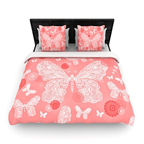"Kess Inhouse Monika Strigel ""Butterfly Dreams Coral"" Pink White Queen Woven Duvet, 88 By 88-Inch front-955373"