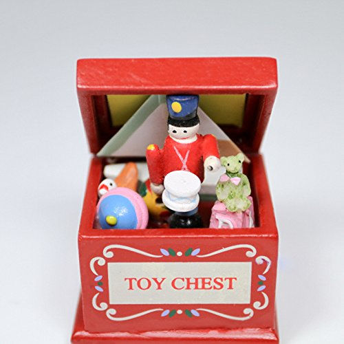 1:12 Toy Chest Box & Toys Wooden Nursery Miniature Doll House Accessory Gift