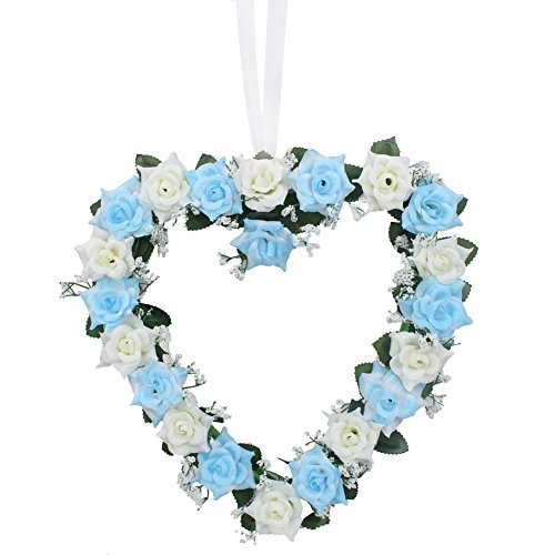 AerWo Heart Shaped Rose Wreath Hanging Door/Wall Wreaths Flowers Garland with Silk Ribbon for Home Wedding Car Decoration (Blue)