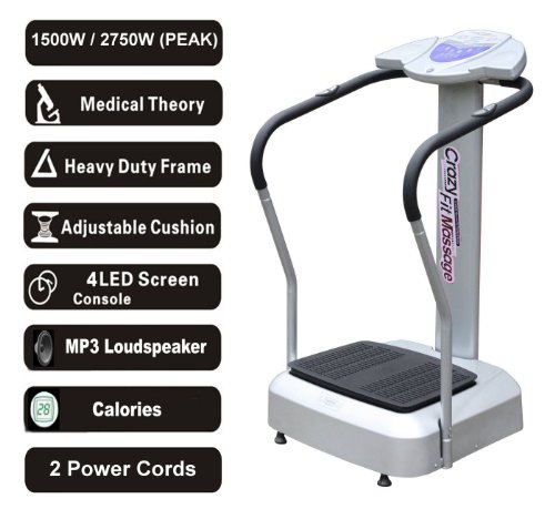 2013 Silver Crazy Fit Vibration Massage Plate 2750W Peak Power 99 Speed Range with MP3 Loudspeaker and 2 Free Power Cords 150kg Max User Weight
