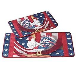 Patriotic Rooster Rug Set - 2 pc