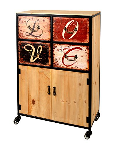 ts-ideen-Kommode-Regal-60-x-90-cm-mit-Rollen-Schrank-LOVE-Shabby-Holz-Rollcontainer