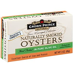 Crown Prince Natural Smoked Oysters in Pure Olive Oil, 3-Ounce Cans (Pack of 9)