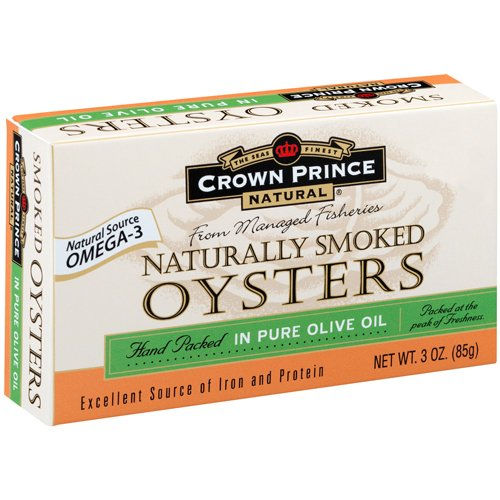 Crown Prince Natural Smoked Oysters in Pure Olive Oil, 3-Ounce (Pack of 9) by Crown Prince