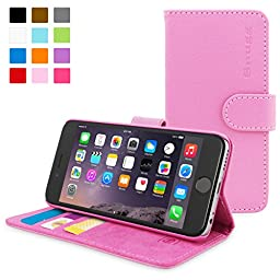 iPhone 6 / 6s Plus Case, Snugg® - Leather Wallet Cover Case with Lifetime Guarantee (Candy Pink) for Apple iPhone 6 / 6s Plus