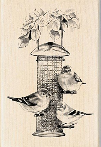 Inkadinkado Mounted Rubber Stamp, 4 by 2.75-Inch, Bird Feeder - 1