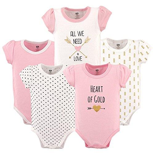 Hudson Baby 5-Pack Hanging Bodysuit, Heart, 3-6 Months