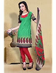 Alethia Green Color Casual Wear Printed Cotton Un-Stitched Dress Material