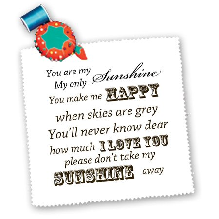 3Drose Qs_79151_5 You Are My Sunshine Word Art Vintage Song Quilt Square, 14 By 14-Inch front-85568