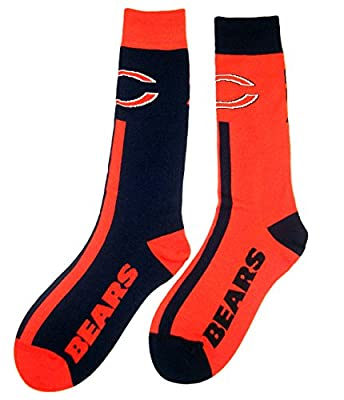 Chicago Bears Big Top MisMatch Crew Socks Size Large 10-13 - For Bare Feet