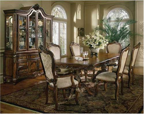 french provincial 7pc dining room table set furniture pedestal table