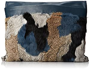 BCBG Patchwork Rabbit Fur Runway Clutch,Slate Combo,One Size