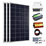 ECO-WORTHY 300 Watt Solar Panel Kit: 3pcs 100W Poly Solar Panel + 1000W 12V-110V Pure Sine Wave Inverter + Combiner Box + Solar Cable + 30A PWM Charge Controller + Z Mounting Brackets (Color: w/ Combiner Box, Tamaño: 300W)