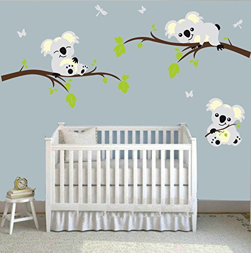 MAFENT(TM)Three Koalas Play on the Tree Branches Wall Decals DIY Vinyl Wall Sticker Nursery Baby Wall Stickers Wall Art For Kids Rooms (Koala Kids compare prices)