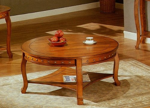 Coffee Tables Low Prices: NailHead Style Round Occasional Cocktail ...