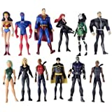 Set of 12 DC Comics Super Hero Young Justice Action Figures Featuring Superman, Wonder Woman, Robin, Cheshire, Sportsmaster, Aqulad, Black Canary, Micron, Whisper and Other Young Justice Members