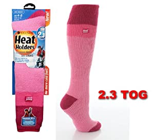 Womens Long L.Pink/Rasberry Heat Holders Ski Socks 4-8
