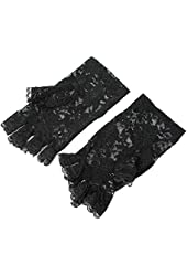 Girls Ladies Graceful Sexy Black Lace Party Costume Gloves Finger Fingerless New