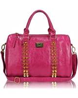 Ladies Barrel Studded Designer Carry Bag Holdall Distressed Handbag - KCMODE