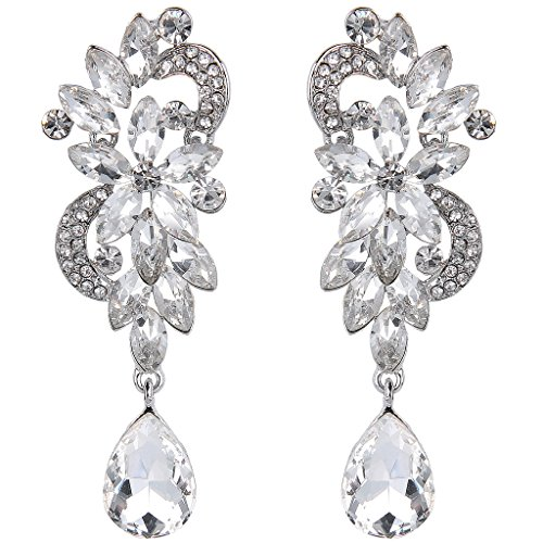 JoinMe Women's Bohemian Crystal Flower Wedding Bridal Chandelier Teardrop Bling Dangle Earrings Clear (Vintage Rhinestone Earrings compare prices)