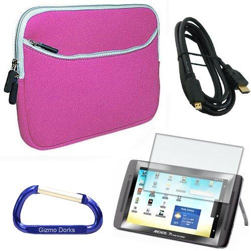 Gizmo Dorks Super Bundle con custodia (Rosa) con moschettone portachiavi per ARCHOS 70internet tablet