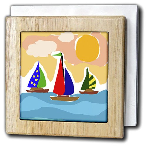 All Smiles Art Sports and Hobbies - Fun Sailboats in the Sun Watercolor Style - 6 inch tile napkin holder (nh_200535_1)