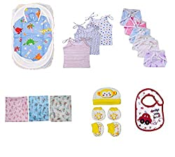 NammaBaby Premium New Born Essentials Combo Set , 20 Piece (Assorted Color)