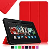 Fintie Ultra Slim Lightweight Shell Case Leather Standing Cover for 8.9 inch Amazon Kindle Fire HDX - Red