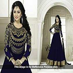 Typify Blue Embroidered Anarkali Semistitched Salwar Suit