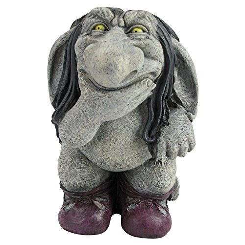 Pondering Sylvester the Cynical Gnome Troll Statue, Two Tone Stone
