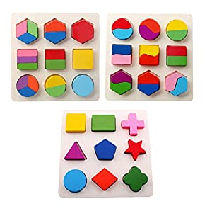 YIXIN Wooden Geometric Shape Sorter Puzzle Board Building Block Toy Puzzle Bricks for 2-year-old Early Education