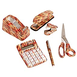 SilverHooks 6 Set: Tiger Animal Safari Print Office Kit, Stapler, Staple Remover, Scissors Tape Dispenser, Calculator & Pen
