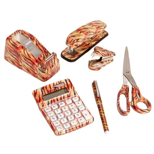 6 Set: Tiger Animal Safari Print Office Kit Stapler Staple Remover Scissors Tape Dispenser Calculator & Pen