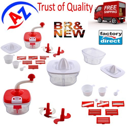 Jony 10_in_1_Green Manual Food Processor (Red) by A TO Z Sales