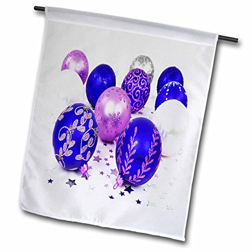 Yves Creations Christmas Decorations - Blue and Purple Christmas Baubles - 18 x 27 inch Garden Flag (fl_36870_2)