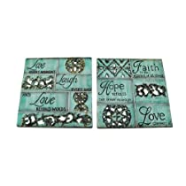 Pair of Square Inspirational Wall Plaques Live Laugh Love
