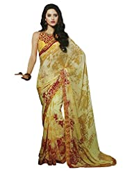 Faux Georgette Saree In Yellow Colour For Casual Wear Wear