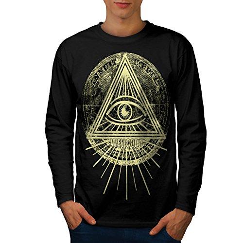 Illuminati-Dreieck-Auge-Prisma-Herren-NEU-Schwarz-S-2XL-Langarm-T-Shirt-Wellcoda