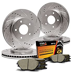 Max KT001933 Front + Rear Premium Slotted & Drilled Rotors and Ceramic Pads Combo Brake Kit