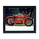 Old Red Vintage Indian Motorcycle Picture Black Framed Art Print