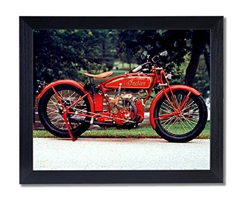 Old Red Vintage Indian Motorcycle Picture Black Framed Art Print 0