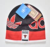 Chicago Bulls Adidas Throwback Cuffless Wordmark Striped Knit Hat